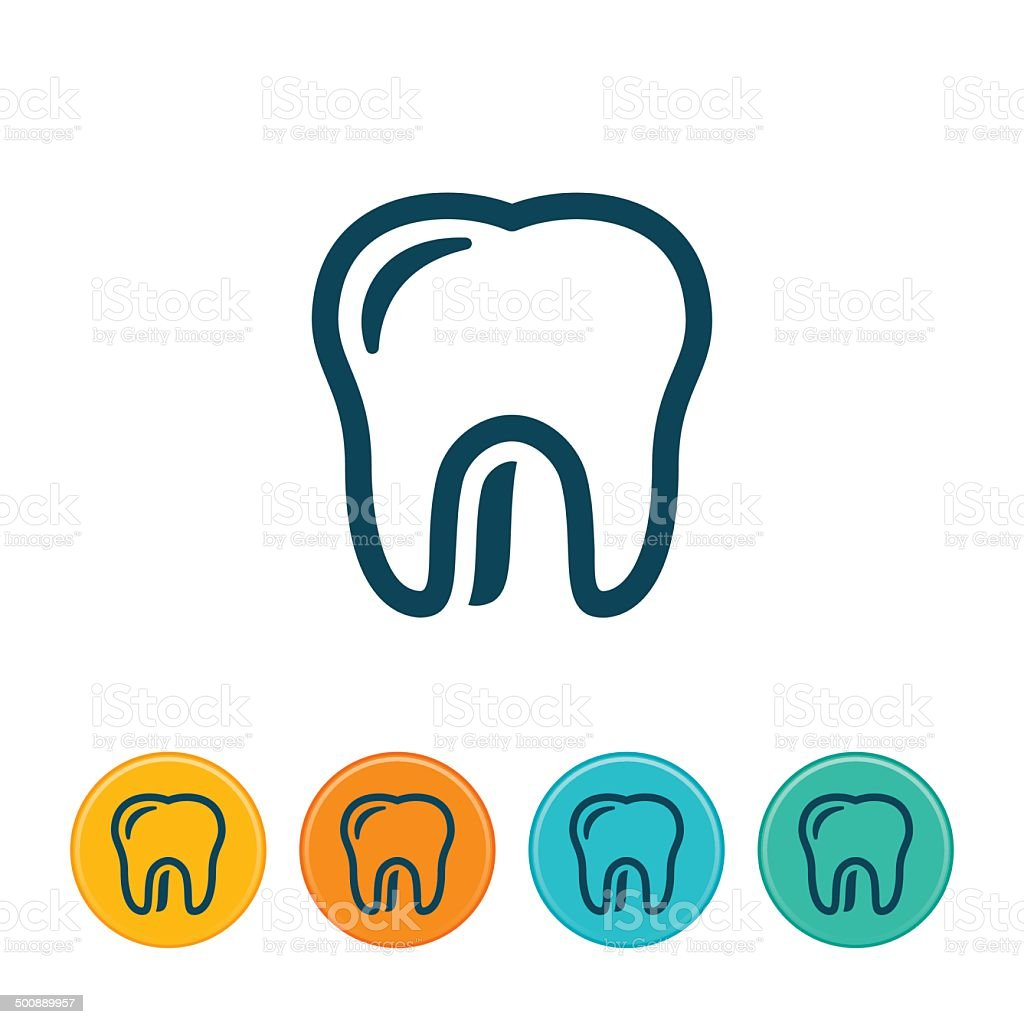 Human Tooth Icon - Outlines vector art illustration