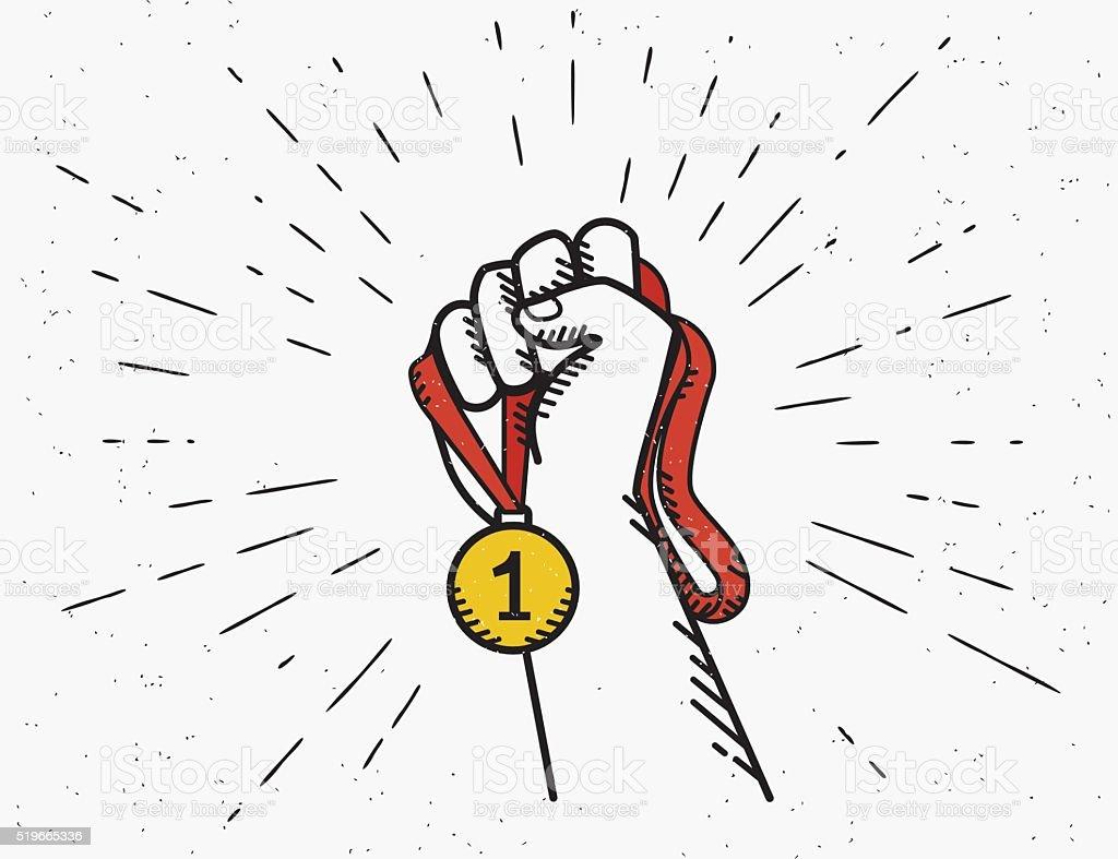 Human vintage hand holds red ribbon with golden medal vector art illustration
