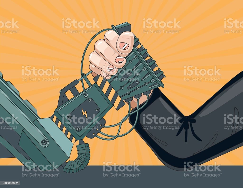 Human vs Robot vector art illustration