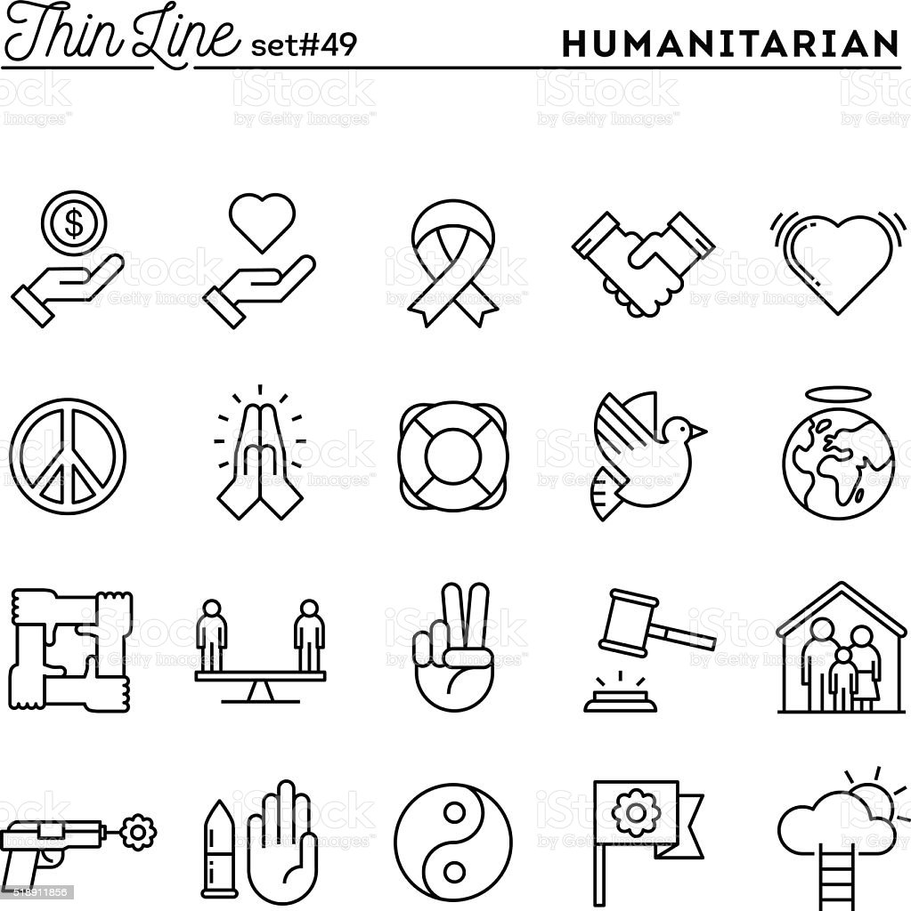 Humanitarian, peace, justice, human rights and more, thin line icons vector art illustration