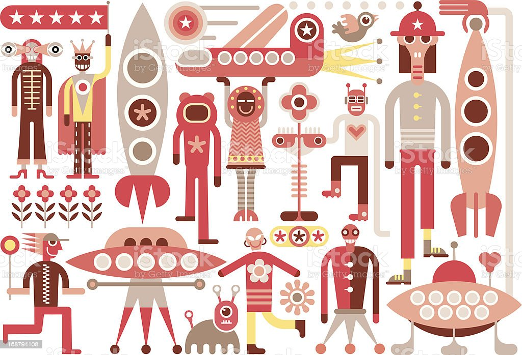 Humans and Aliens royalty-free stock vector art