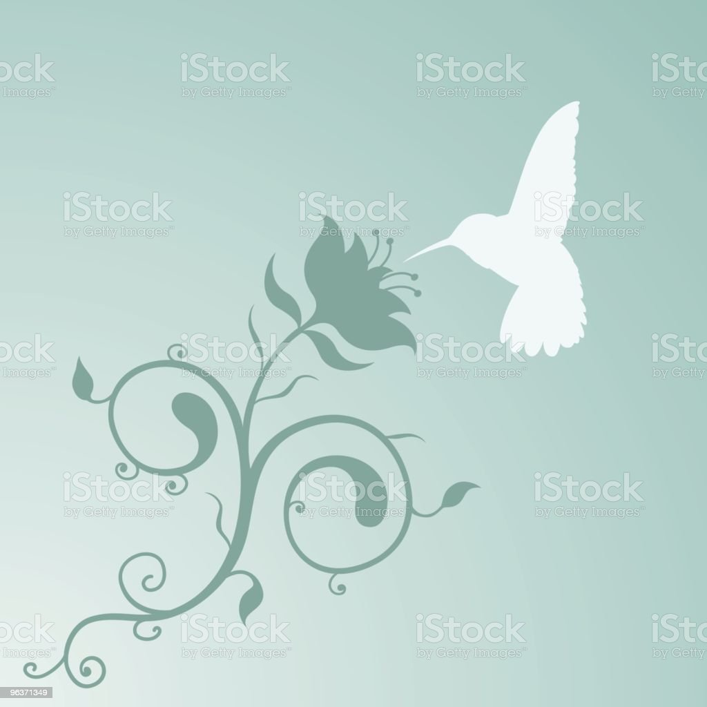 Humming Bird and a lovely Filigree Plant thing. vector art illustration