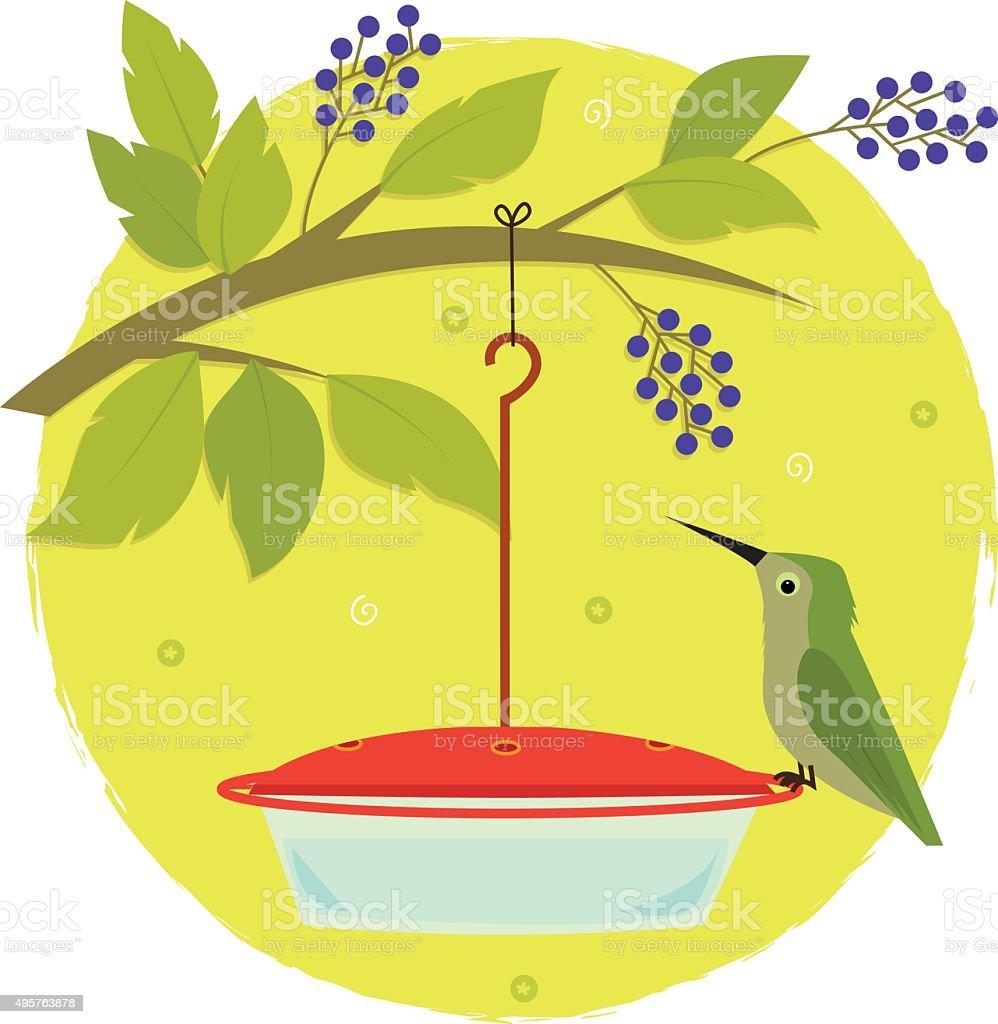 Hummingbird and Feeder vector art illustration
