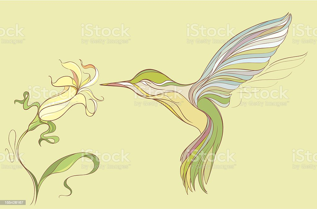 Hummingbird and flower royalty-free stock vector art