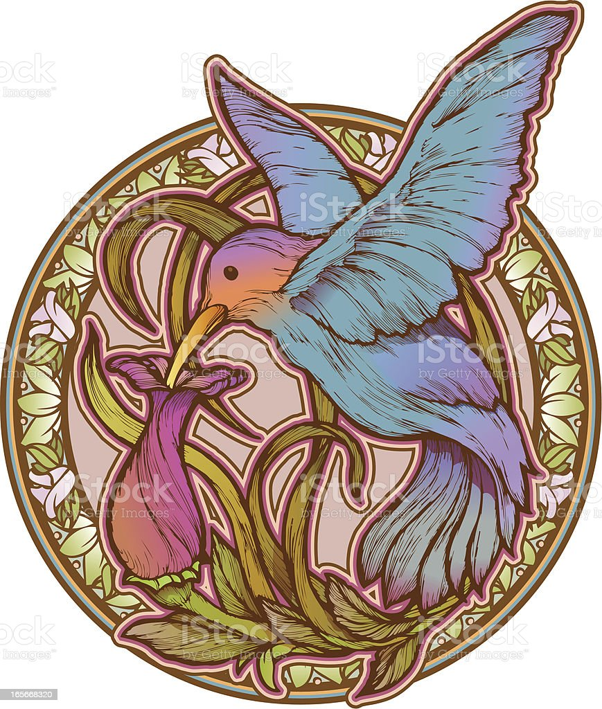 Hummingbird and Flower vector art illustration