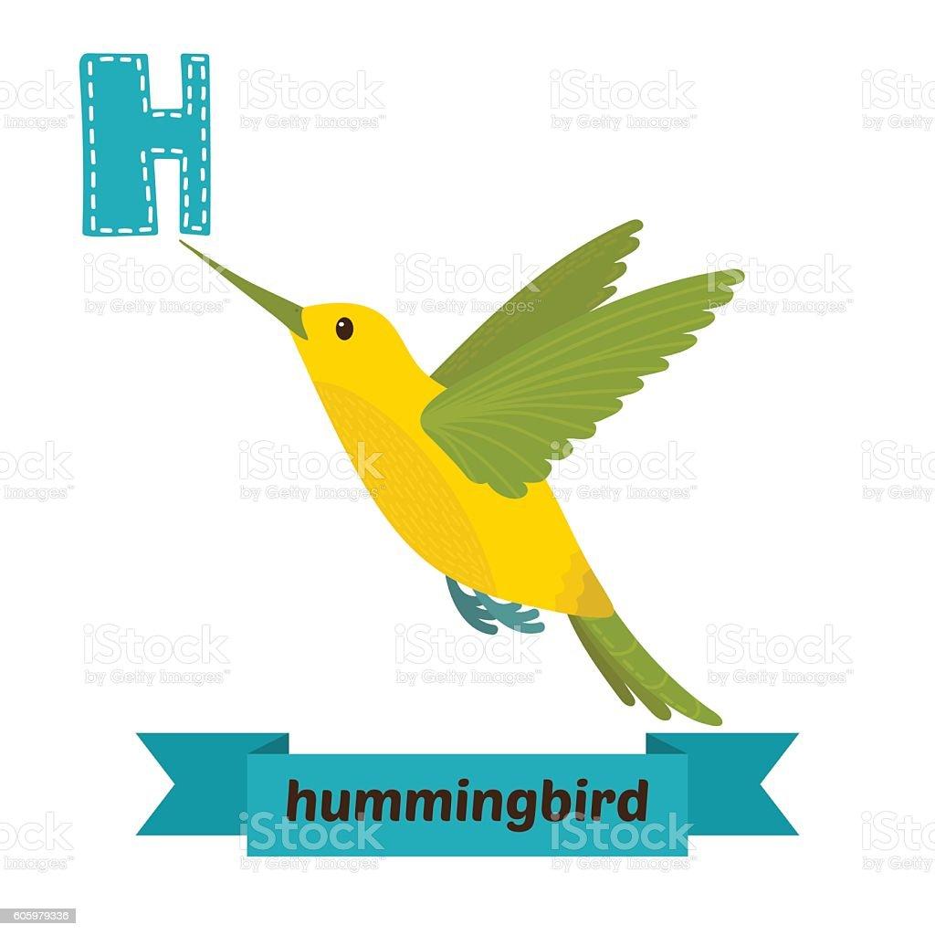 Hummingbird. H letter. Cute children animal alphabet in vector. vector art illustration