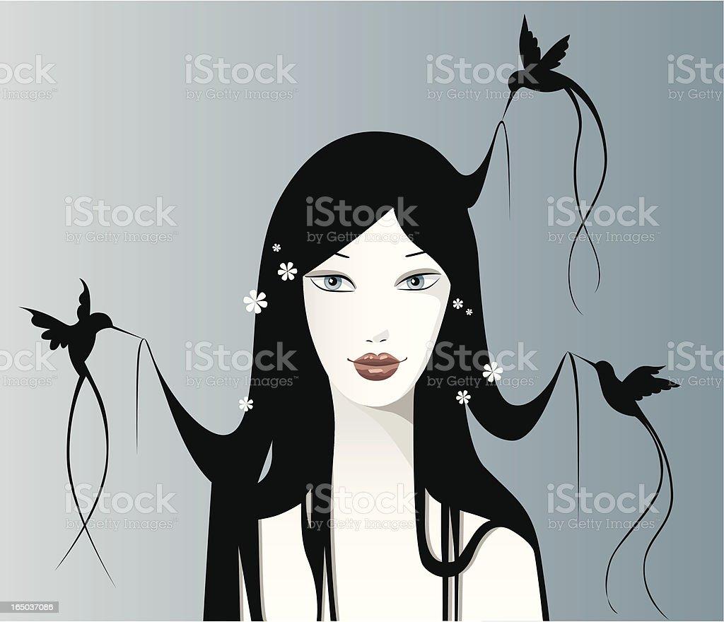 Hummingbird hair series vector art illustration