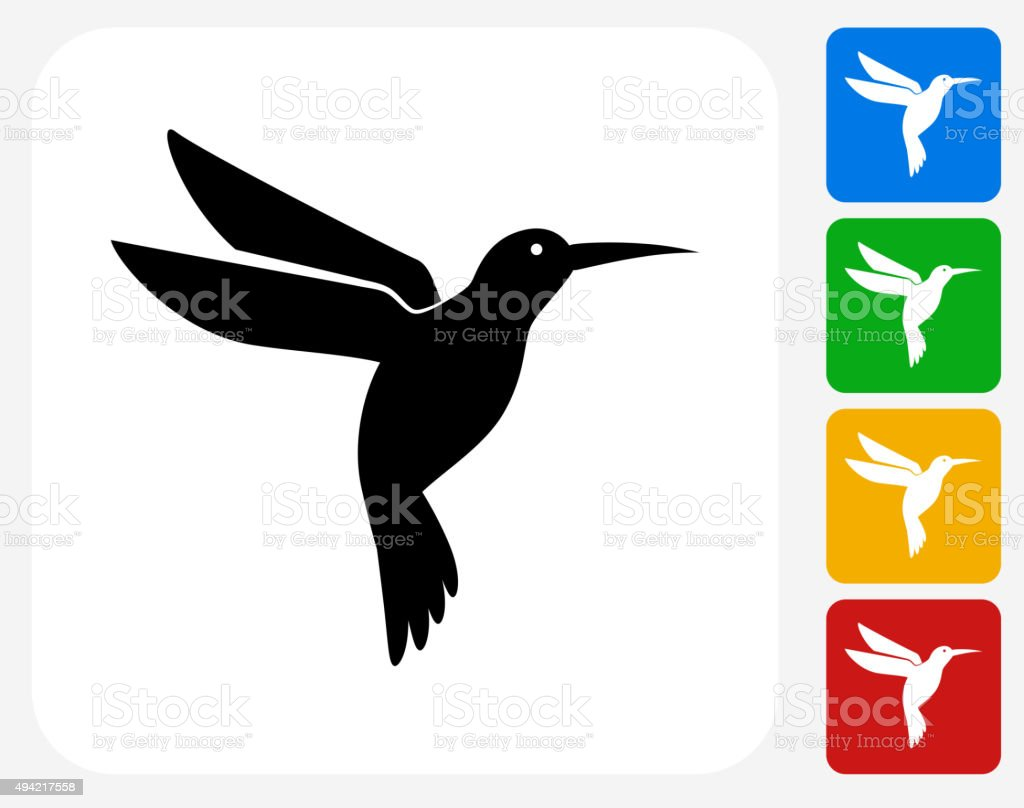 Hummingbird Icon Flat Graphic Design vector art illustration