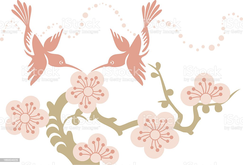 Hummingbirds Couple & Cherry Blossom Flowers royalty-free stock vector art