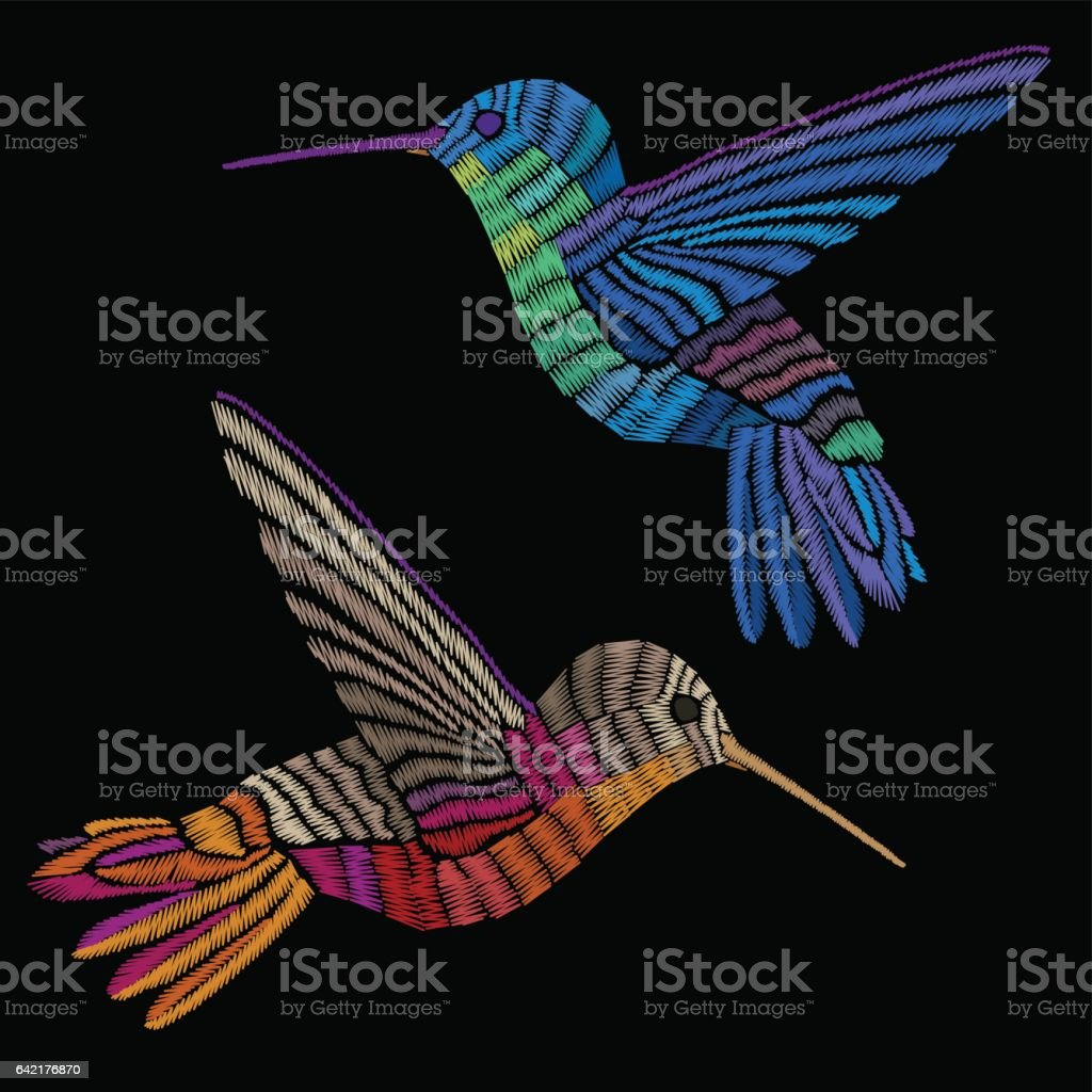 Hummingbirds embroidery. Embroidered bird vector art illustration