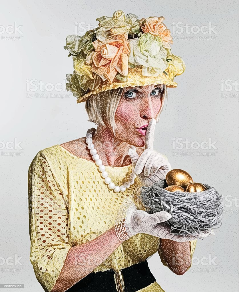 Humorous, Eccentric Woman Holding Financial Nest Egg vector art illustration