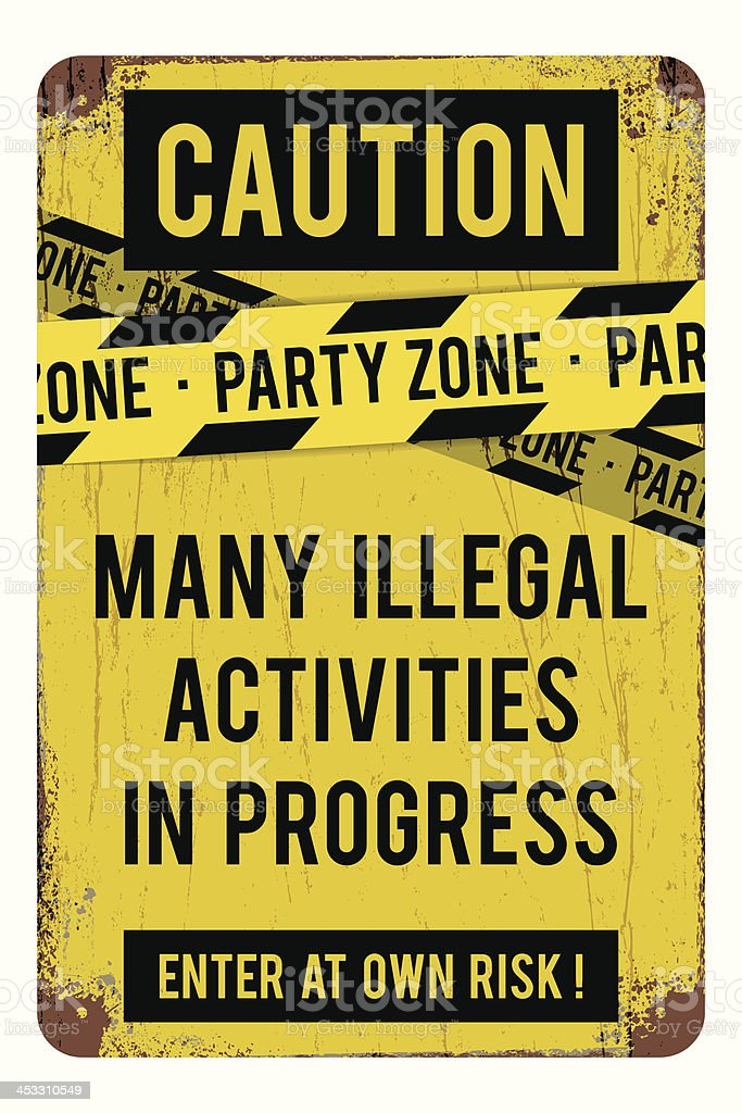 Humorous student party zone sign with police warning colors royalty-free stock vector art