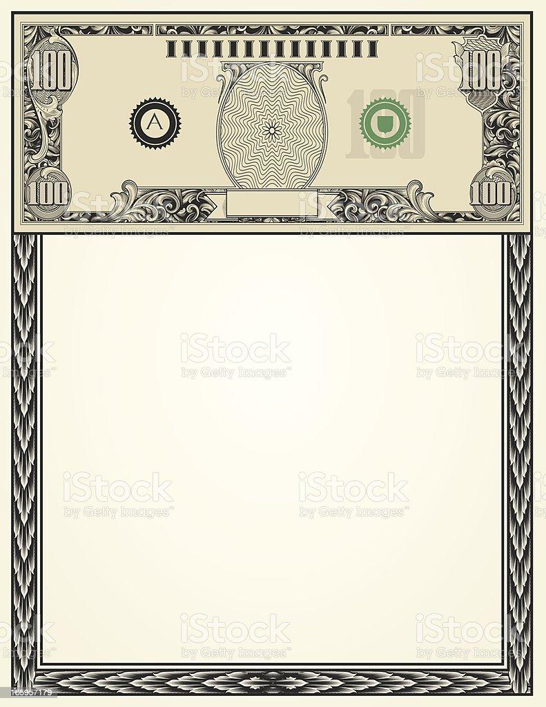 hundred 100 Dollar Bill Money Page royalty-free stock vector art