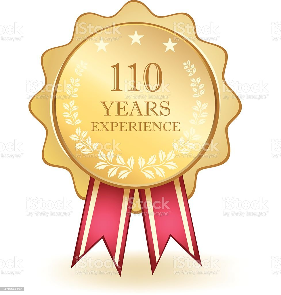 Hundred And Ten Years Experience Medal vector art illustration