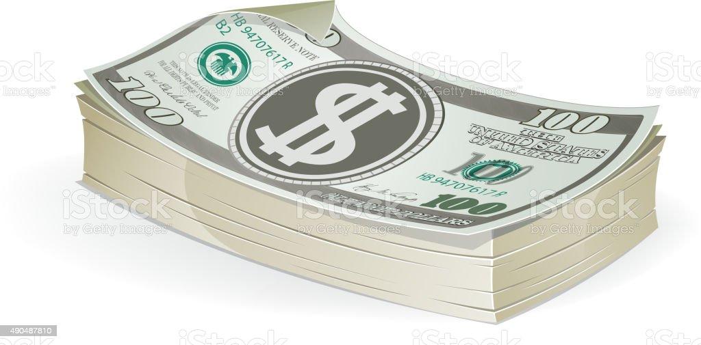 Hundred dollar bills vector art illustration