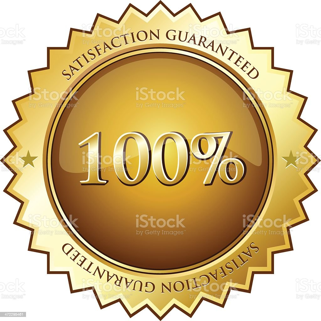 Hundred Percent Satisfaction Guaranteed royalty-free stock vector art
