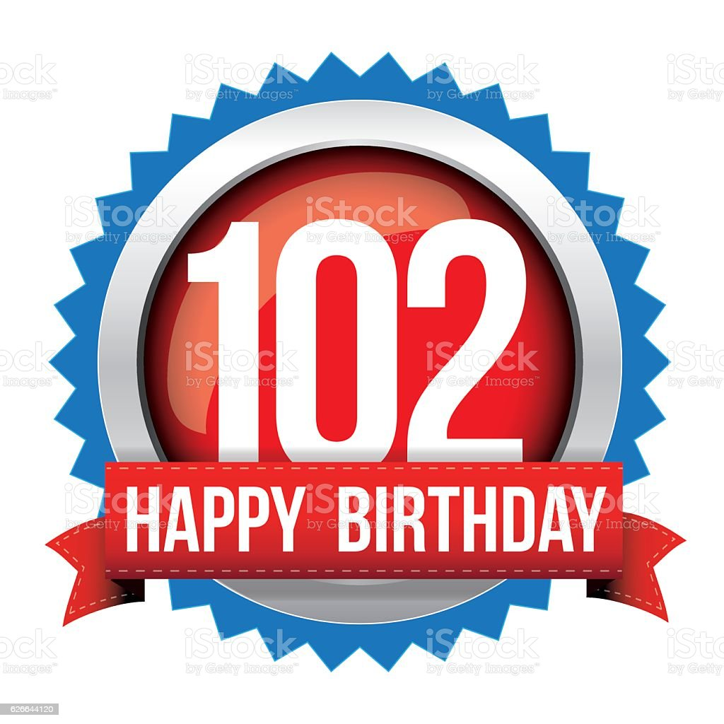 Hundred Two years happy birthday badge ribbon vector art illustration