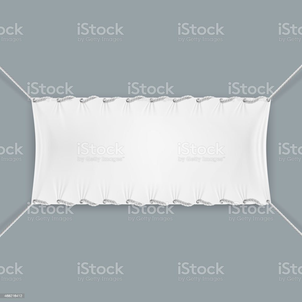 Hung By Ropes Textile Banner. vector art illustration