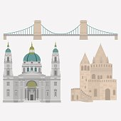 Hungarian City sights in Budapest. Hungary Landmark Travel  Architecture Elements