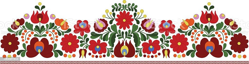 Hungarian embroidery border pattern vector art illustration
