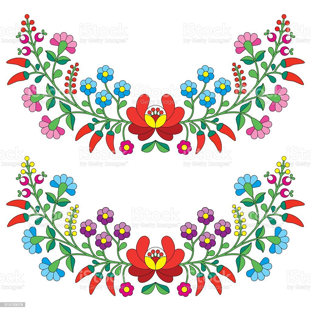 Hungarian floral folk pattern - Kalocsai, embroidery vector art illustration