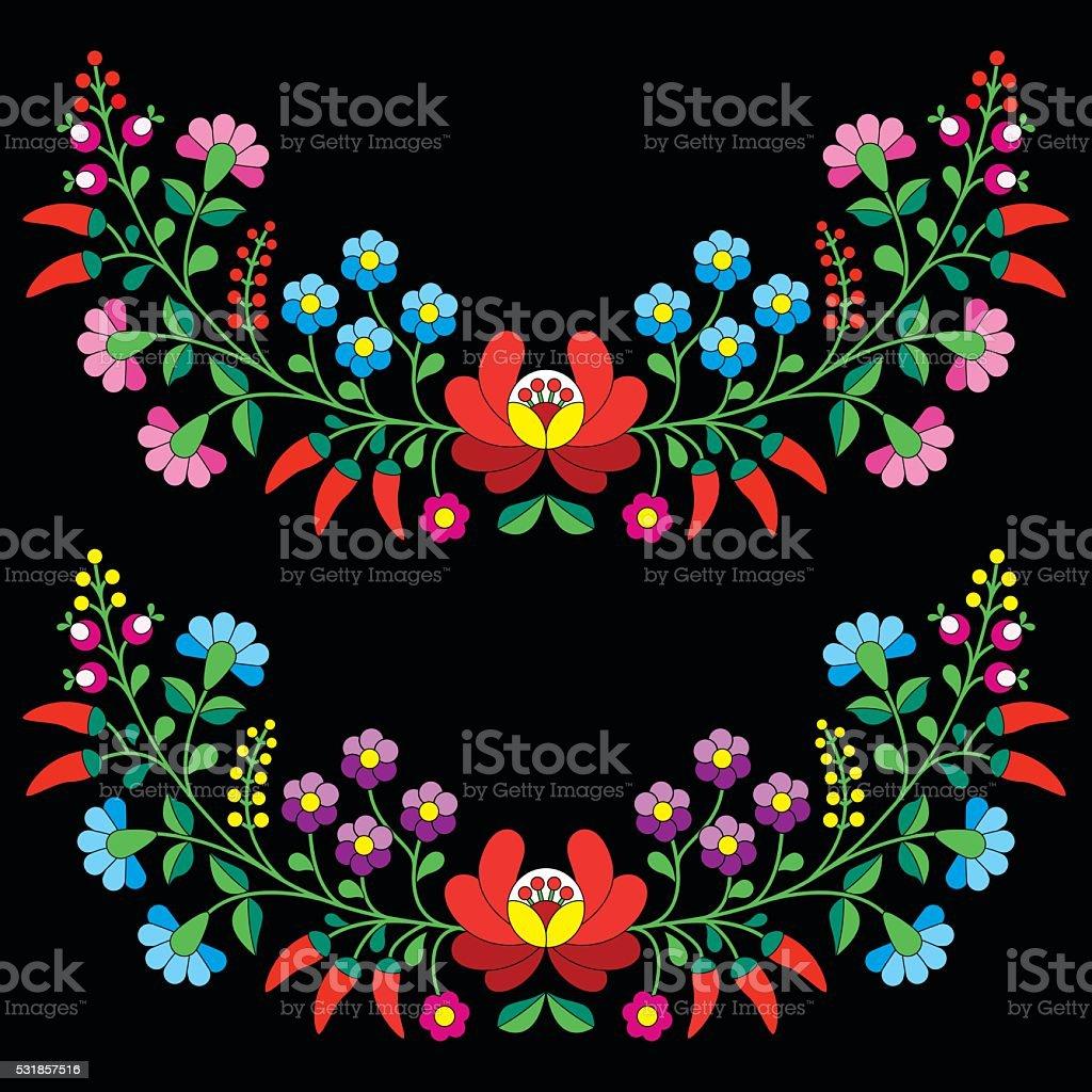 Hungarian floral folk pattern - Kalocsai embroidery vector art illustration