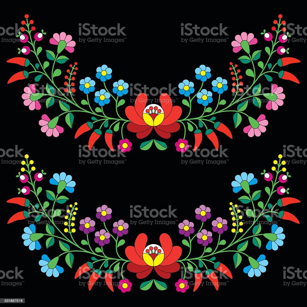 Hungarian floral folk pattern - Kalocsai embroidery vector art illustration