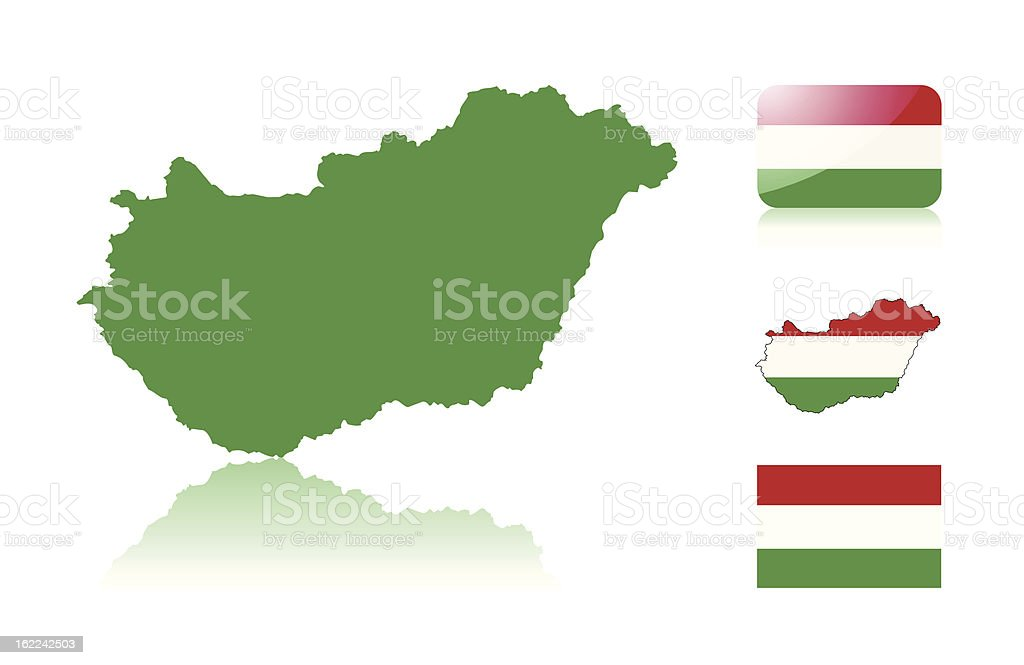 Hungarian map and flags vector art illustration