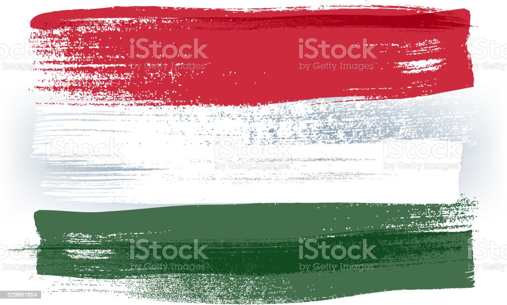 Hungary colorful brush strokes painted flag vector art illustration