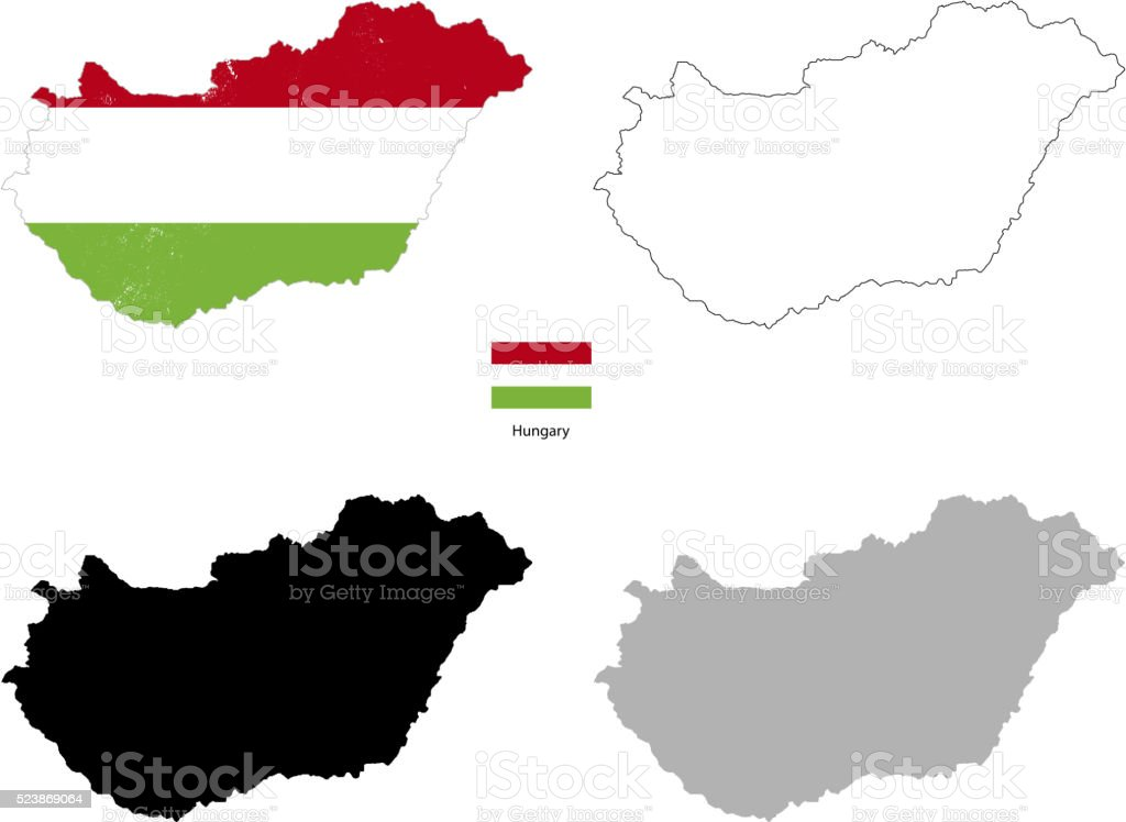 Hungary country black silhouette and with flag on background vector art illustration