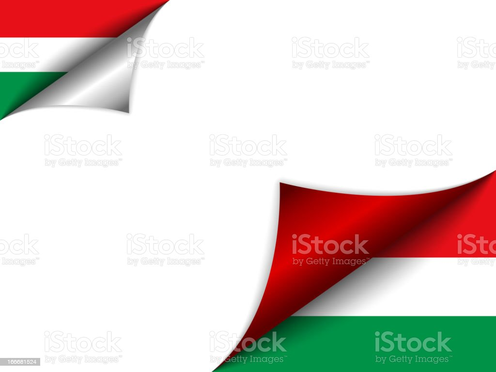 Hungary Country Flag Turning Page royalty-free stock vector art