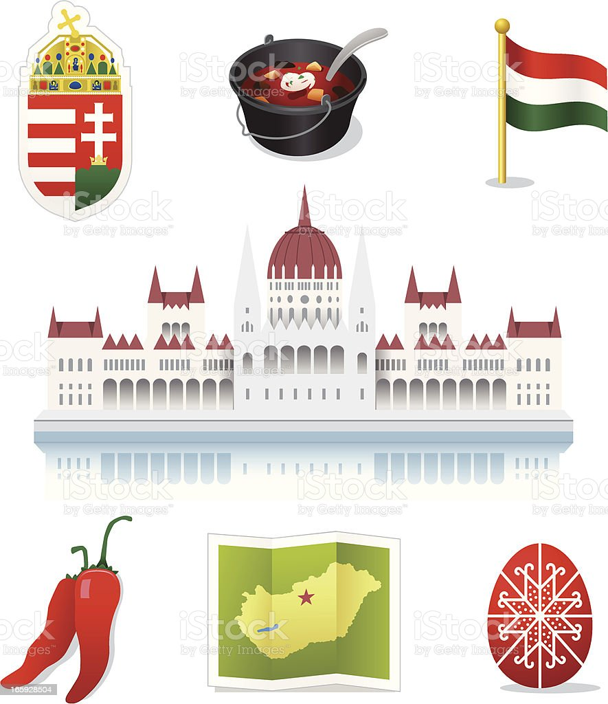 Hungary Icons vector art illustration