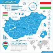 Hungary - infographic map - Illustration