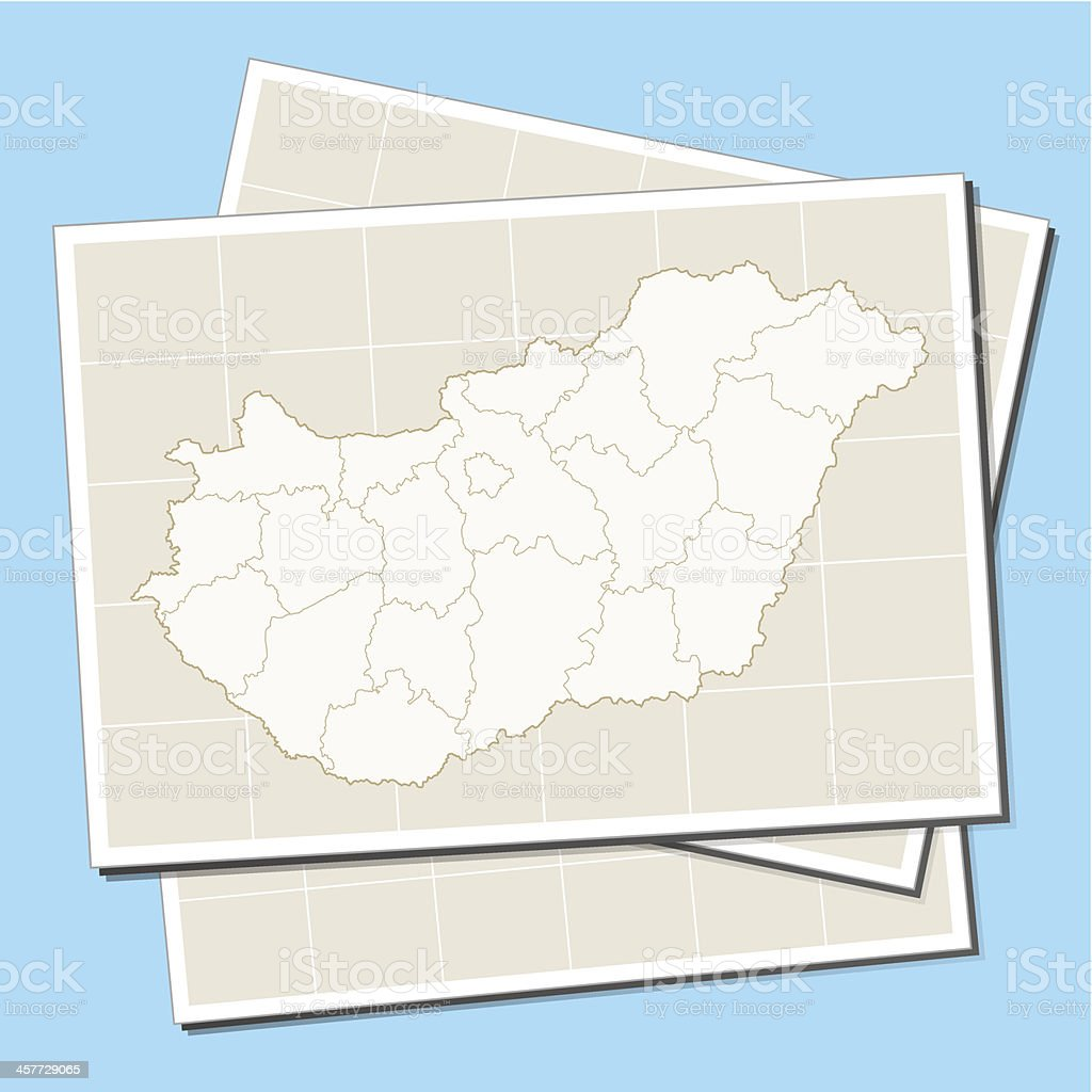Hungary map on paper royalty-free stock vector art