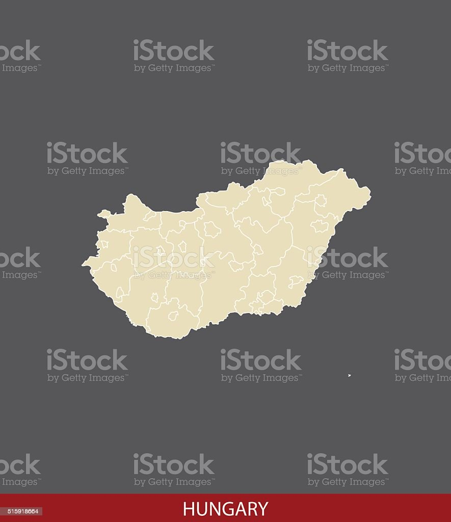 Hungary map outline vector in gray background vector art illustration