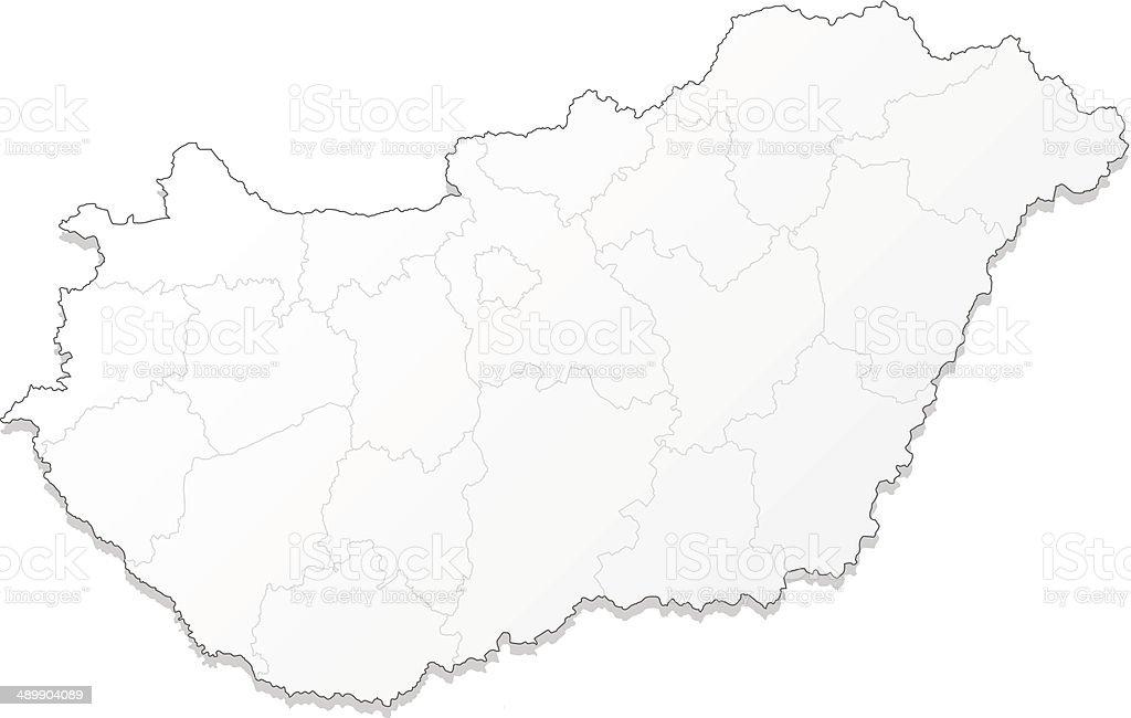 Hungary map white vector art illustration