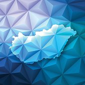 Hungary on Abstract Polygonal Background - Low Poly, Geometric