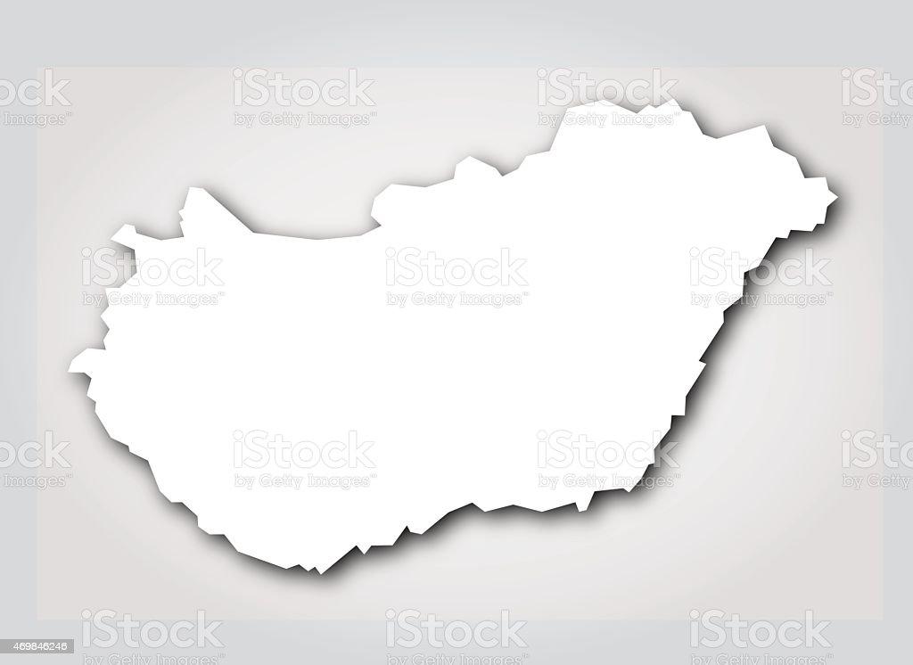 Hungary Silhouette White vector art illustration