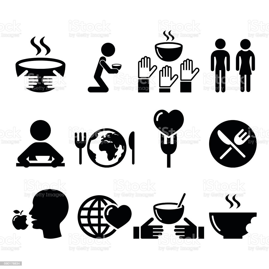 Hunger, starvation, poverty icons set vector art illustration