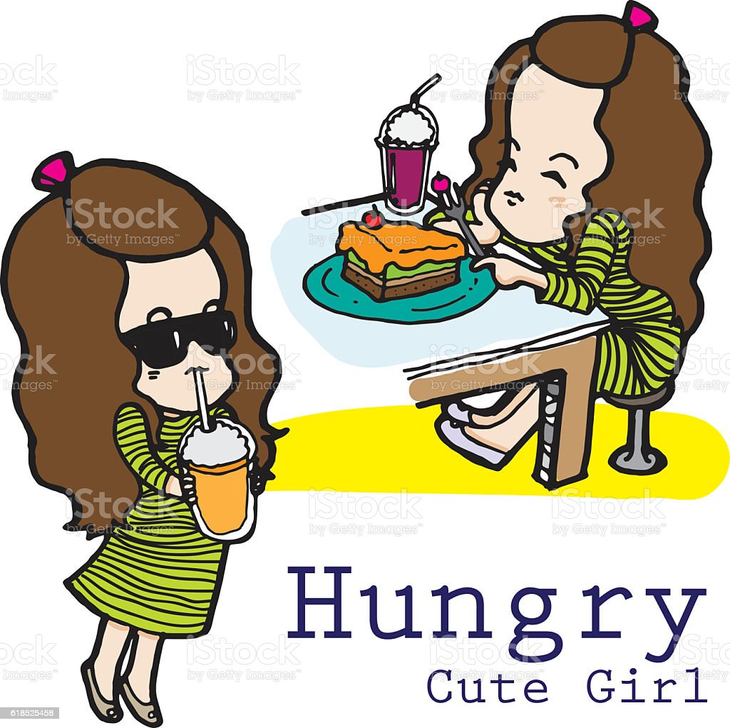 Hungry and thirsty girl vector character vector art illustration