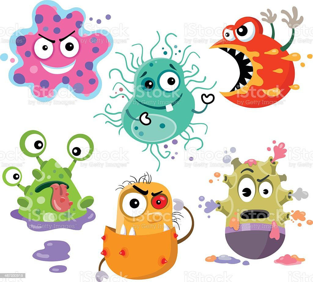 Hungry Bacteria vector art illustration