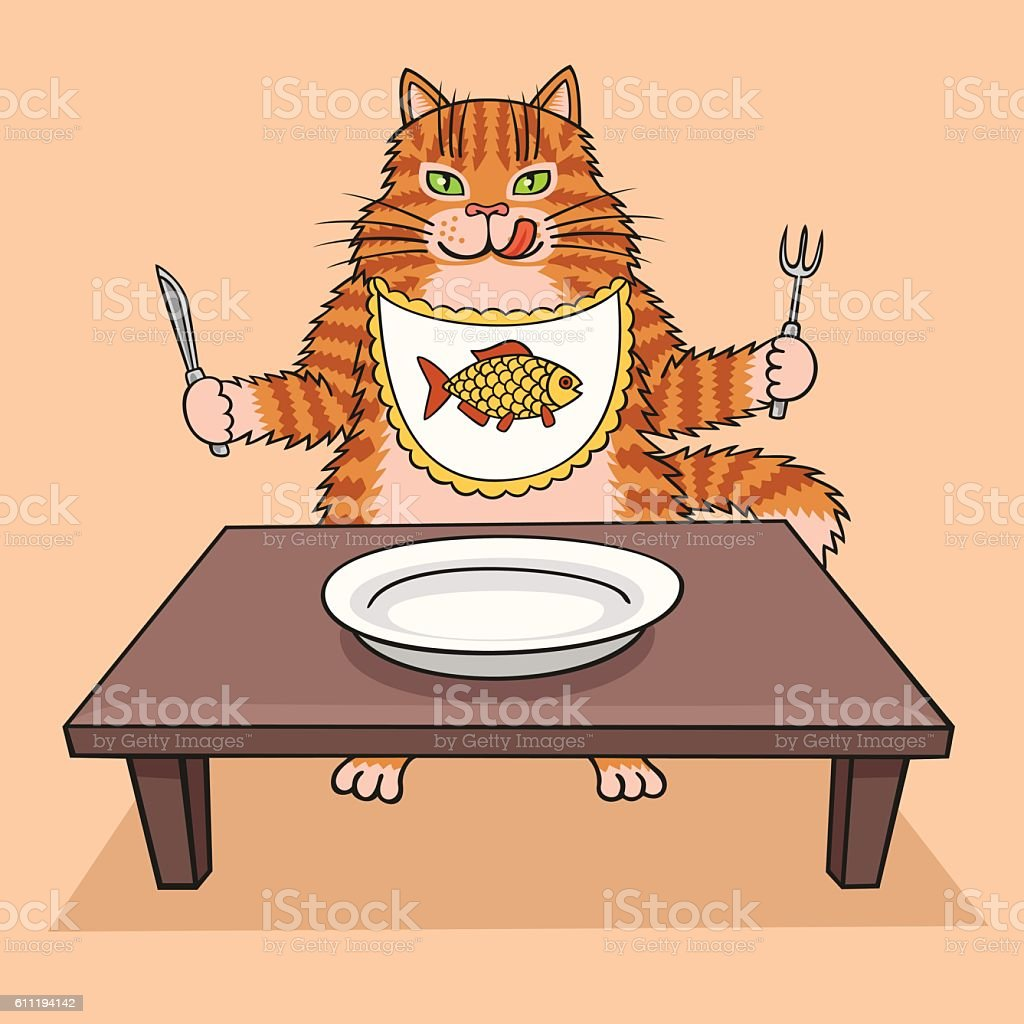 Hungry cat wants to eat. vector art illustration