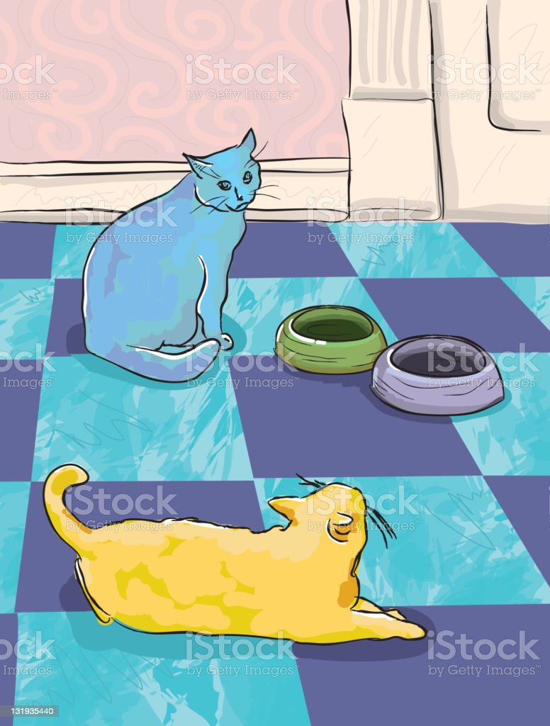 Hungry cats waiting for food vector art illustration