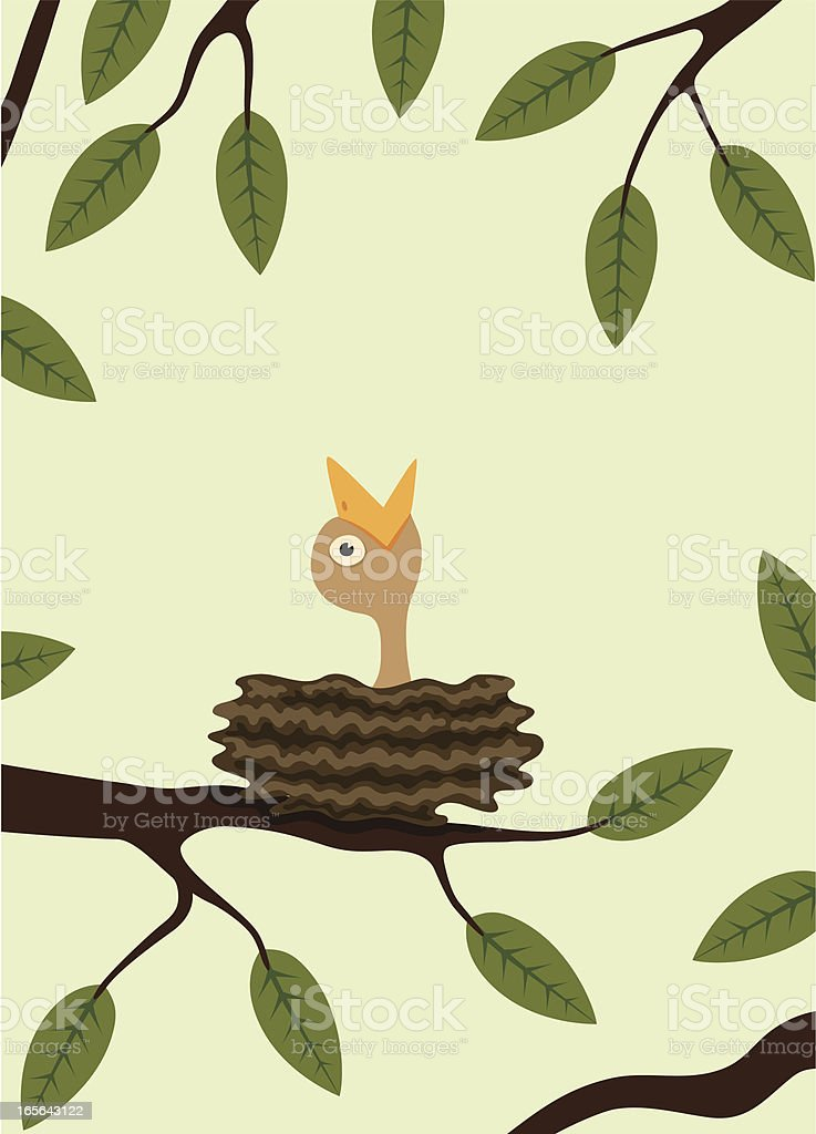 Hungry chick vector art illustration