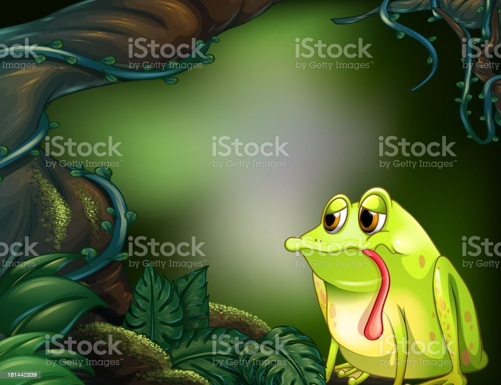 hungry frog in the rainforest royalty-free stock vector art
