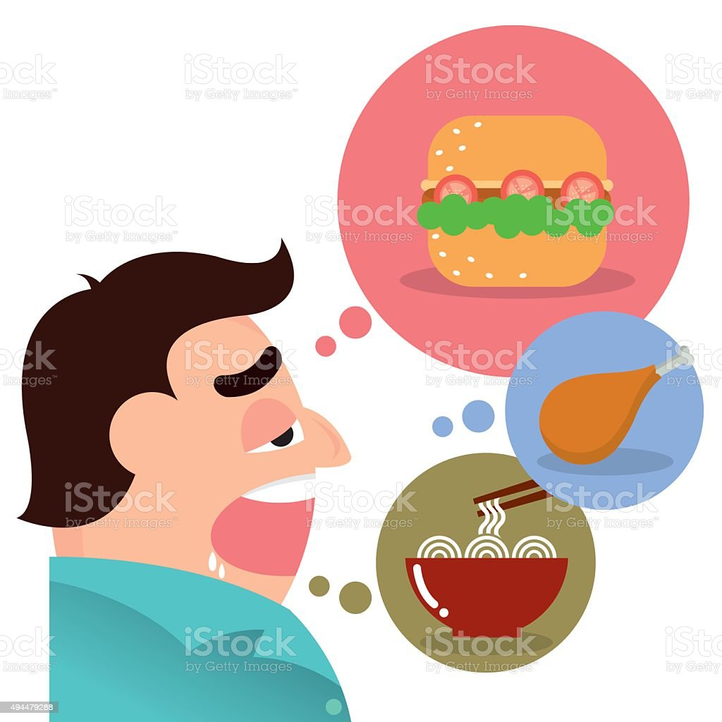 hungry man cartoon vector vector art illustration