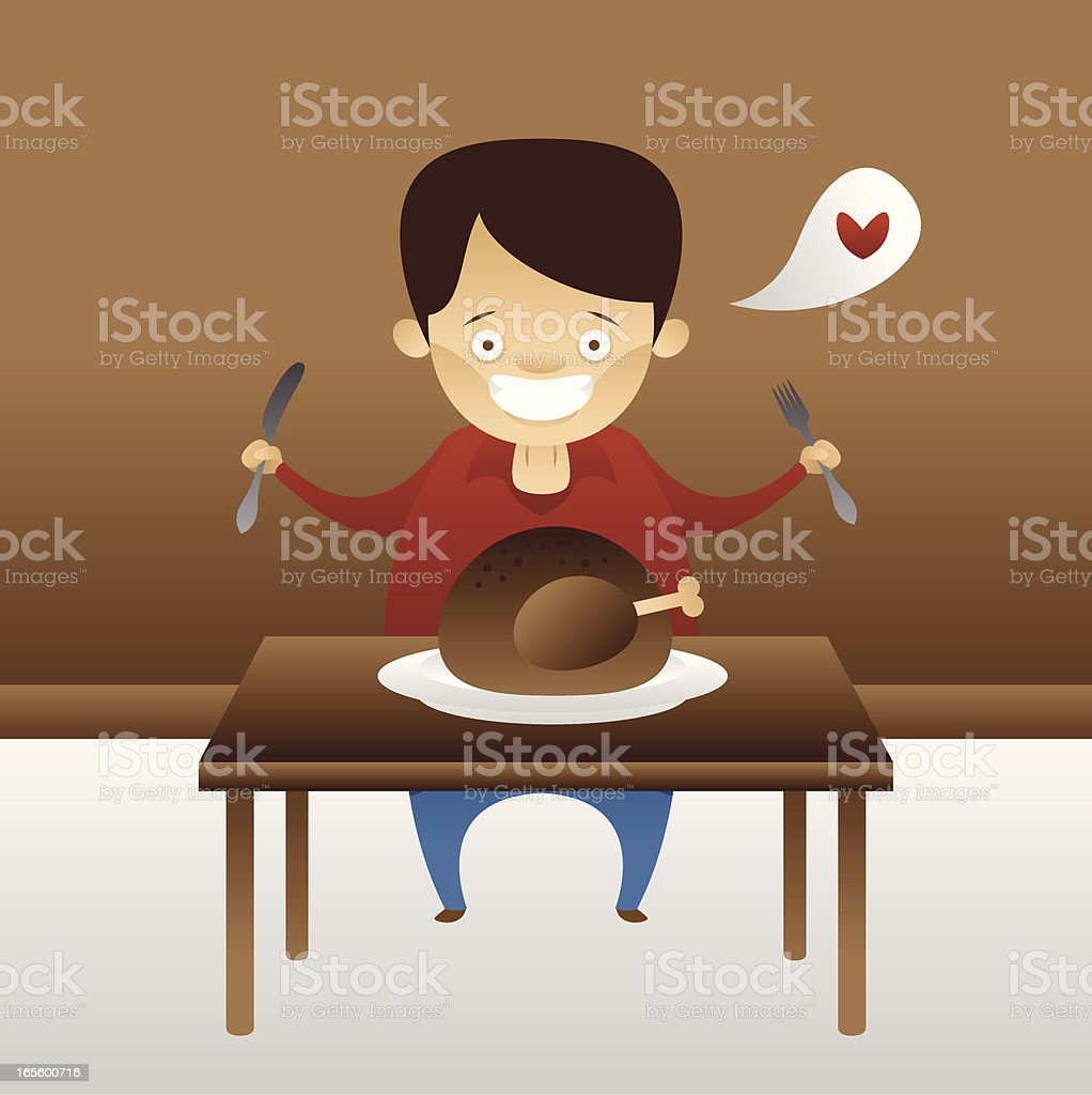 Hungry man eating a chicken royalty-free stock vector art