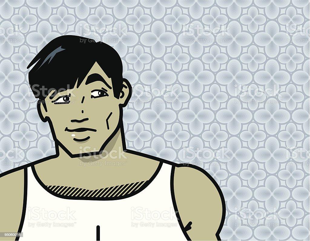 hunk at home vector art illustration