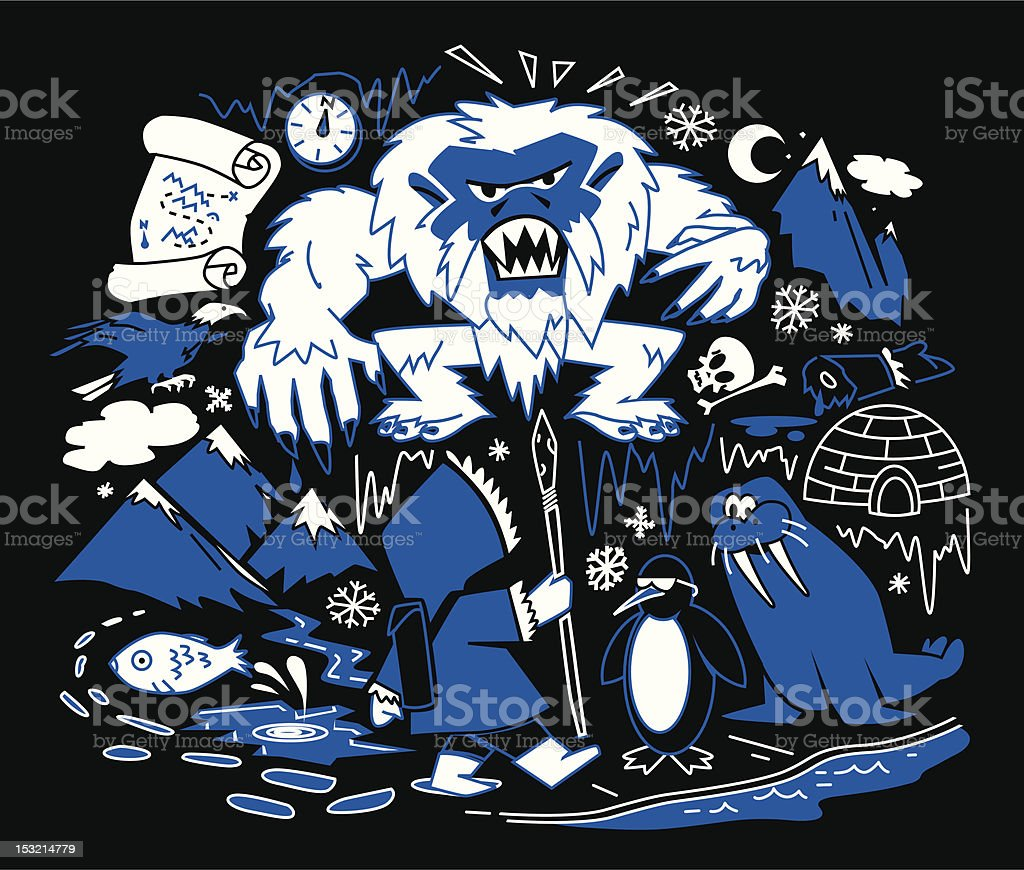 Hunt For The Yeti royalty-free stock vector art