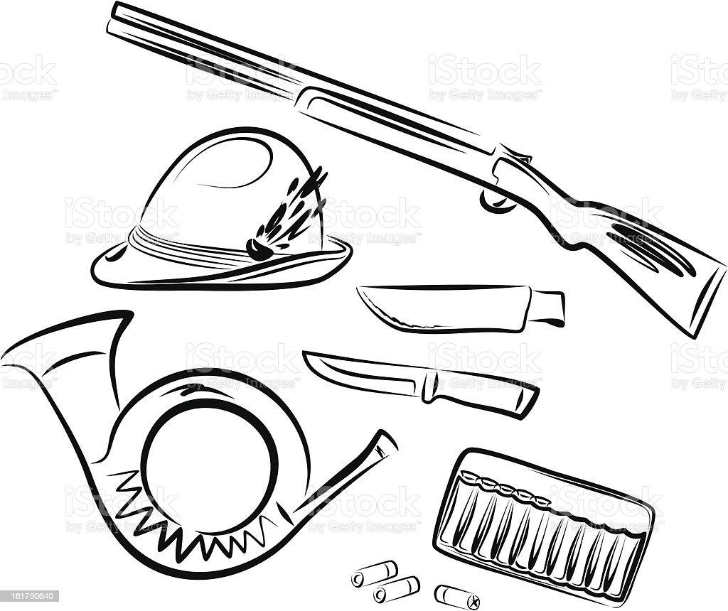Hunter accessories and symbols vector art illustration